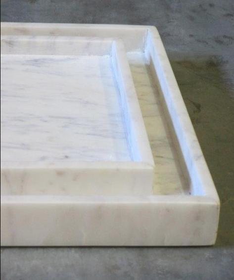 Marmer blad, wit 40x40x4-1