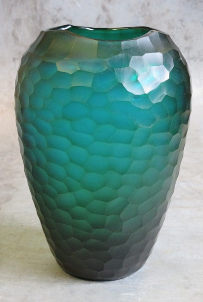 Facet vaas geslepen glas turquoise Ø23xH34cm o4Home