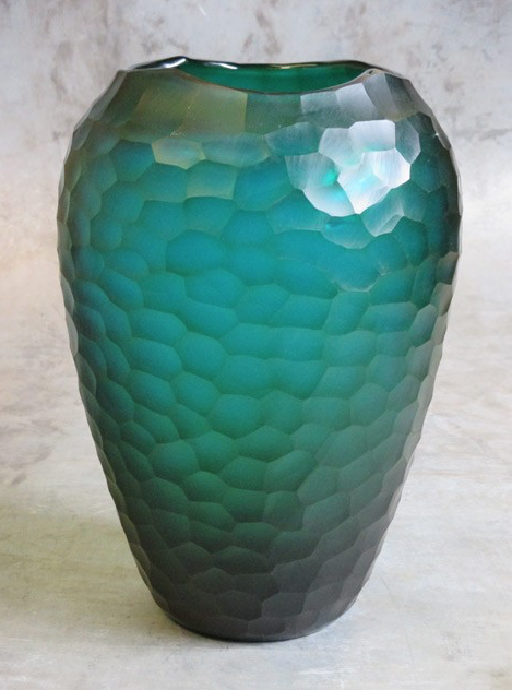 Facet vaas geslepen glas turquoise Ø23xH34cm o4Home-1