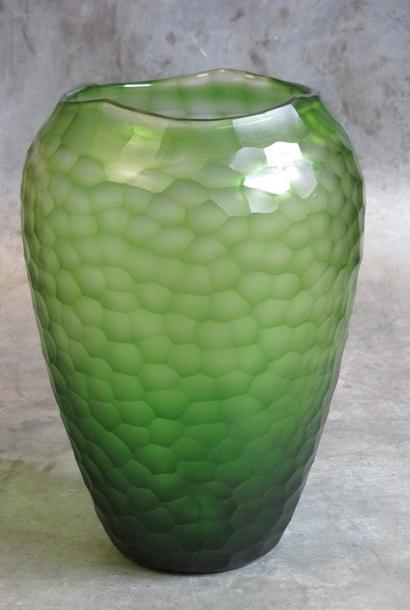 Facet vaas geslepen glas groen Ø23xH34cm o4home