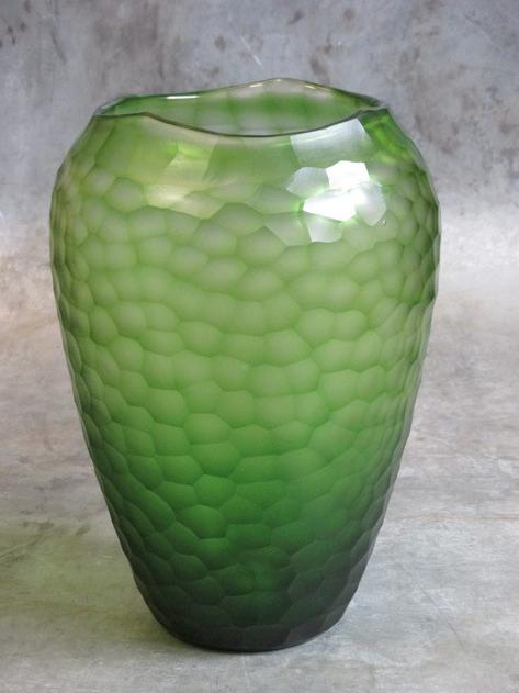 Facet vaas geslepen glas groen Ø23xH34cm o4home-1