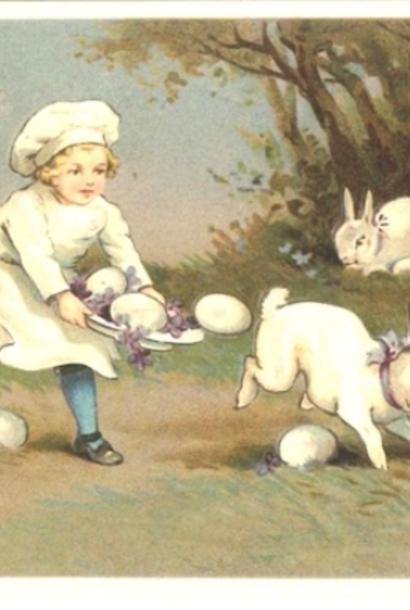 Kaart (enkel) Kind met eieren en konijntjes 14x9cm