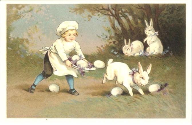 Kaart (enkel) Kind met eieren en konijntjes 14x9cm-1