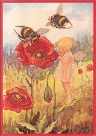 Kaart (enkel) Meisje met papaver glitter 11x15,5cm-1