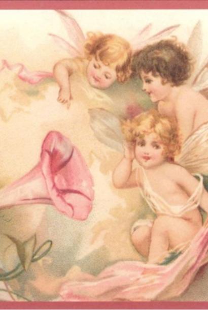 Kaart (enkel) Engelen luisteren naar muziek glitte 10,5x15cm