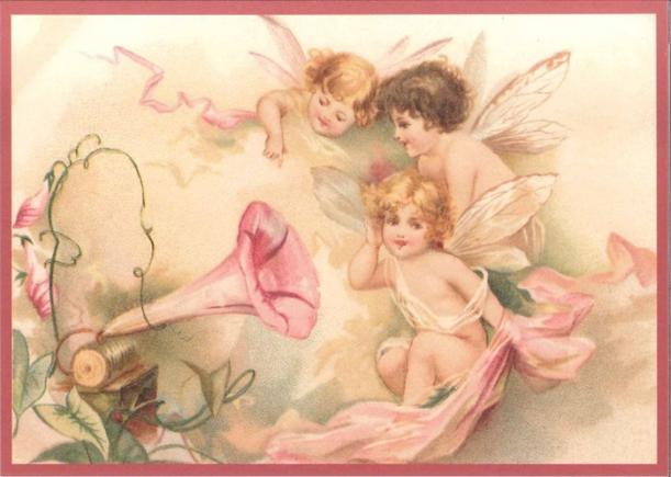 Kaart (enkel) Engelen luisteren naar muziek glitte 10,5x15cm-1