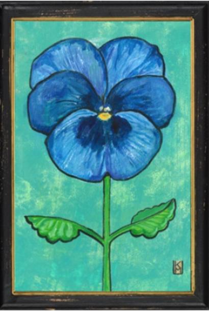 Blauw viooltje in zwarte lijst 34x23,5cm