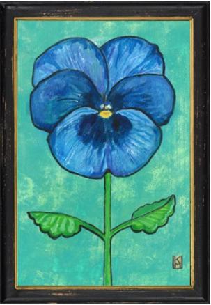 Blauw viooltje in zwarte lijst 34x23,5cm-1