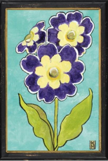 Primula in zwart lijstje 34x23,5cm