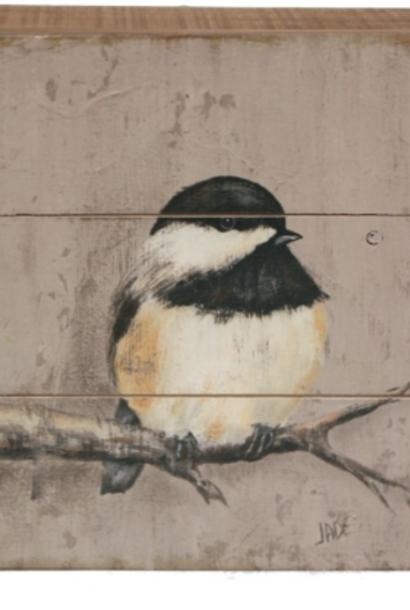 Schilderijtje hout Zwarte mees op tak 20x5,5x20cm