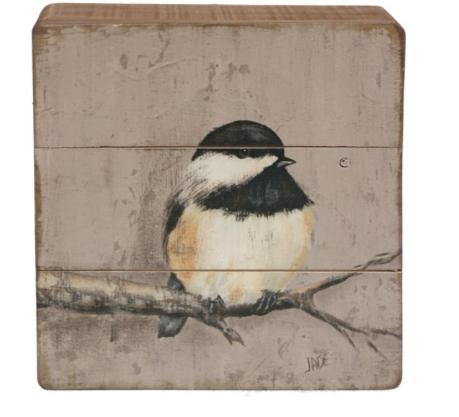 Schilderijtje hout Zwarte mees op tak 20x5,5x20cm-1