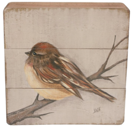 Schilderijtje hout Mus op tak 20x5,5x20cm-1