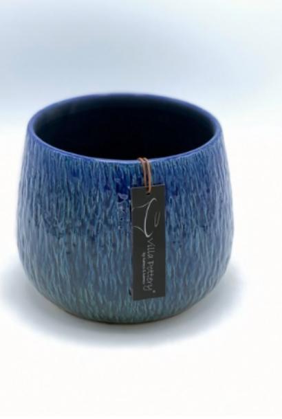 Geglazuurde bloempot blauw 17X13CM