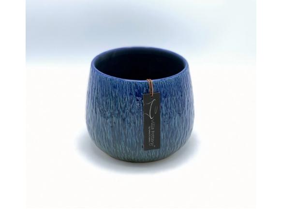 Geglazuurde bloempot blauw 17X13CM-1