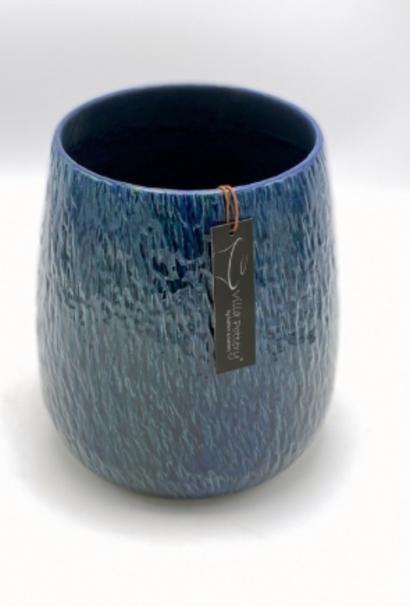 Geglazuurde bloempot blauw 18X20CM