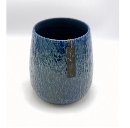 Geglazuurde bloempot blauw 18X20CM-1