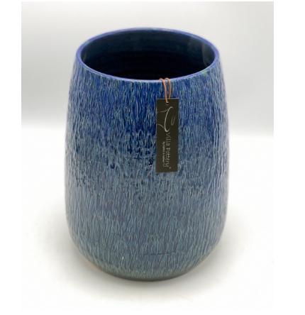 Geglazuurde bloempot blauw 21X27CM-1