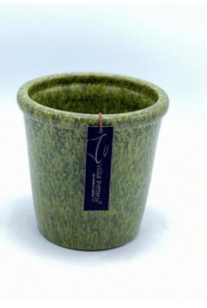 Groen geglazuurde konische bloempot 15X15CM