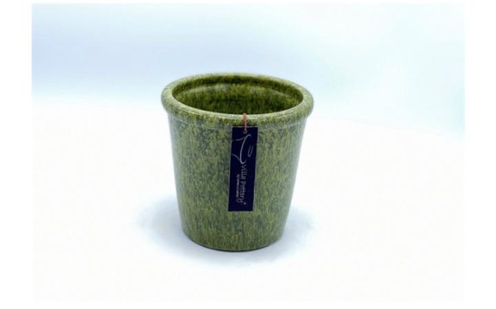 Groen geglazuurde konische bloempot 15X15CM-1
