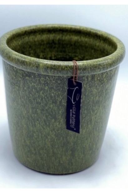 Groen geglazuurde konische bloempot 25X25CM