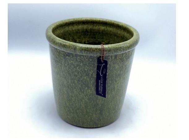 Groen geglazuurde konische bloempot 25X25CM-1