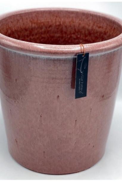 Roze geglazuurde konische bloempot 35X35CM