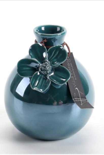 Blauw geglazuurde vaas met bloem 8,5X8,5X11CM