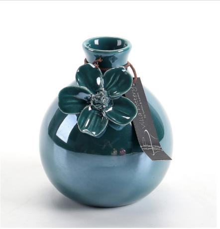 Blauw geglazuurde vaas met bloem 8,5X8,5X11CM-1