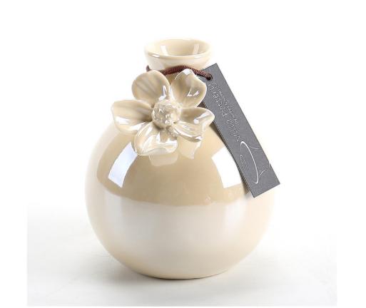 Glanzend wit geglazuurde vaas met bloem 8,5X8,5X11CM-1