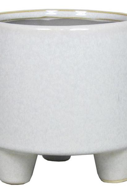Pot op voet d14cm h14cm grijs