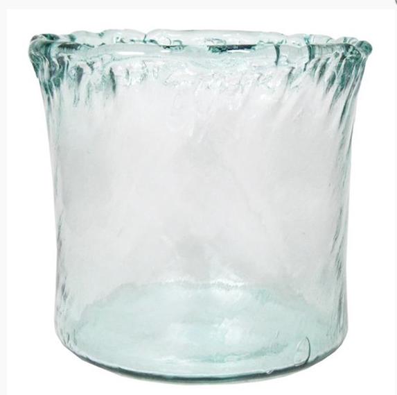 Glazen vaas met kartel rand d23cm h28cm-1