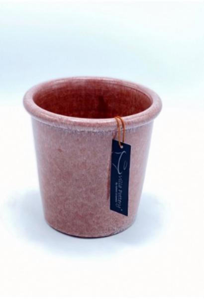Roze geglazuurde konische bloempot 15X15CM