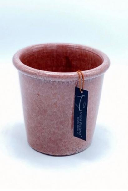 Roze geglazuurde konische bloempot 18X18CM