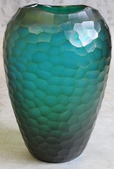 organic carved glass vase Ø23xH34 turquois-1