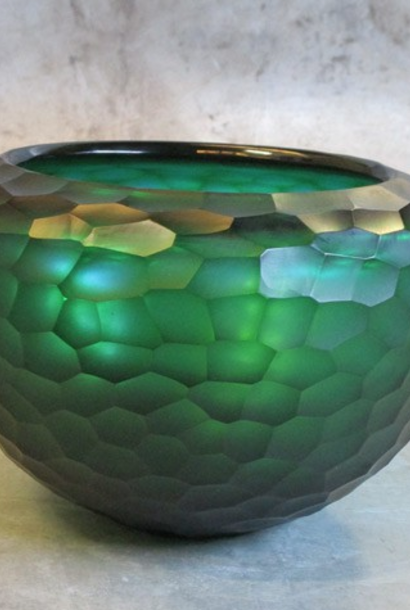 carved glass bowl Ø26xH18 turquoise