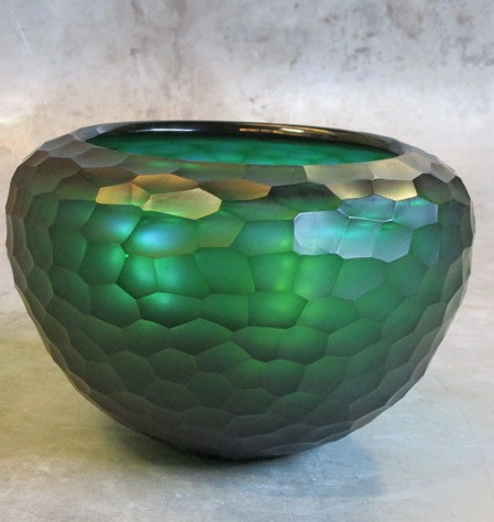 carved glass bowl Ø26xH18 turquoise-1