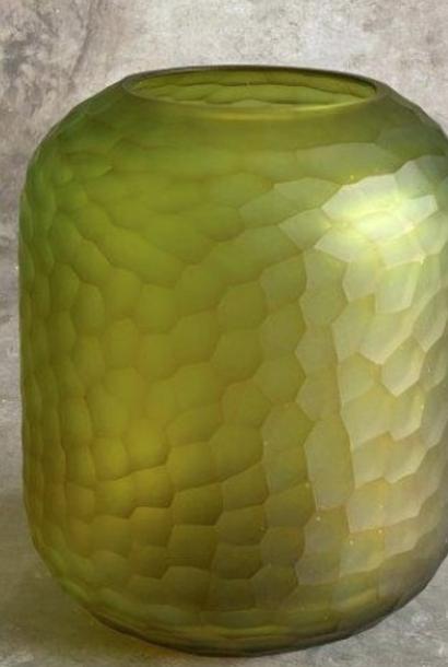 carved glass vase Ø20xH24cm l. green