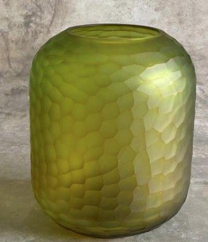 carved glass vase Ø20xH24cm l. green-1