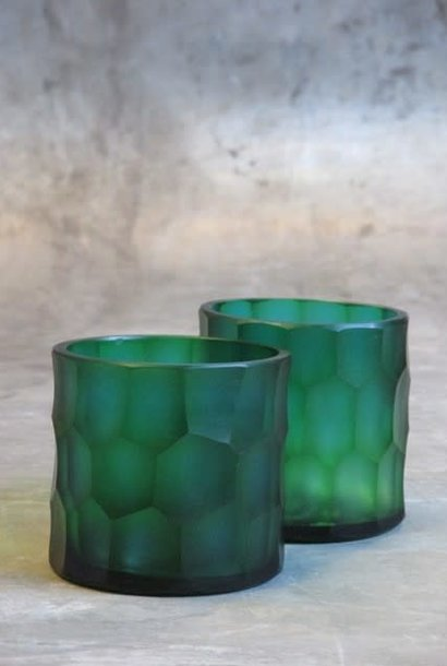 carved glass t-light holder Ø9xH9 turquoise
