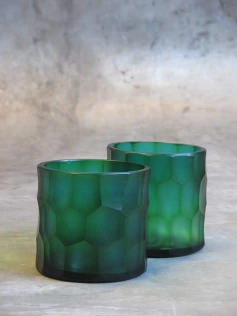 carved glass t-light holder Ø9xH9 turquoise-1