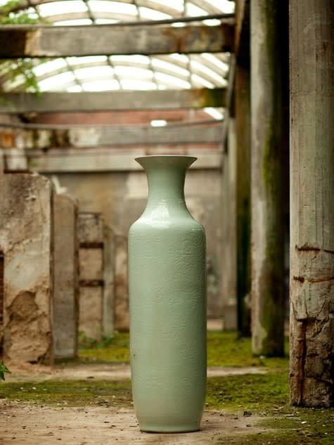 Porcelain vase Ø39xH138cm light celadon with dragon pattern-1