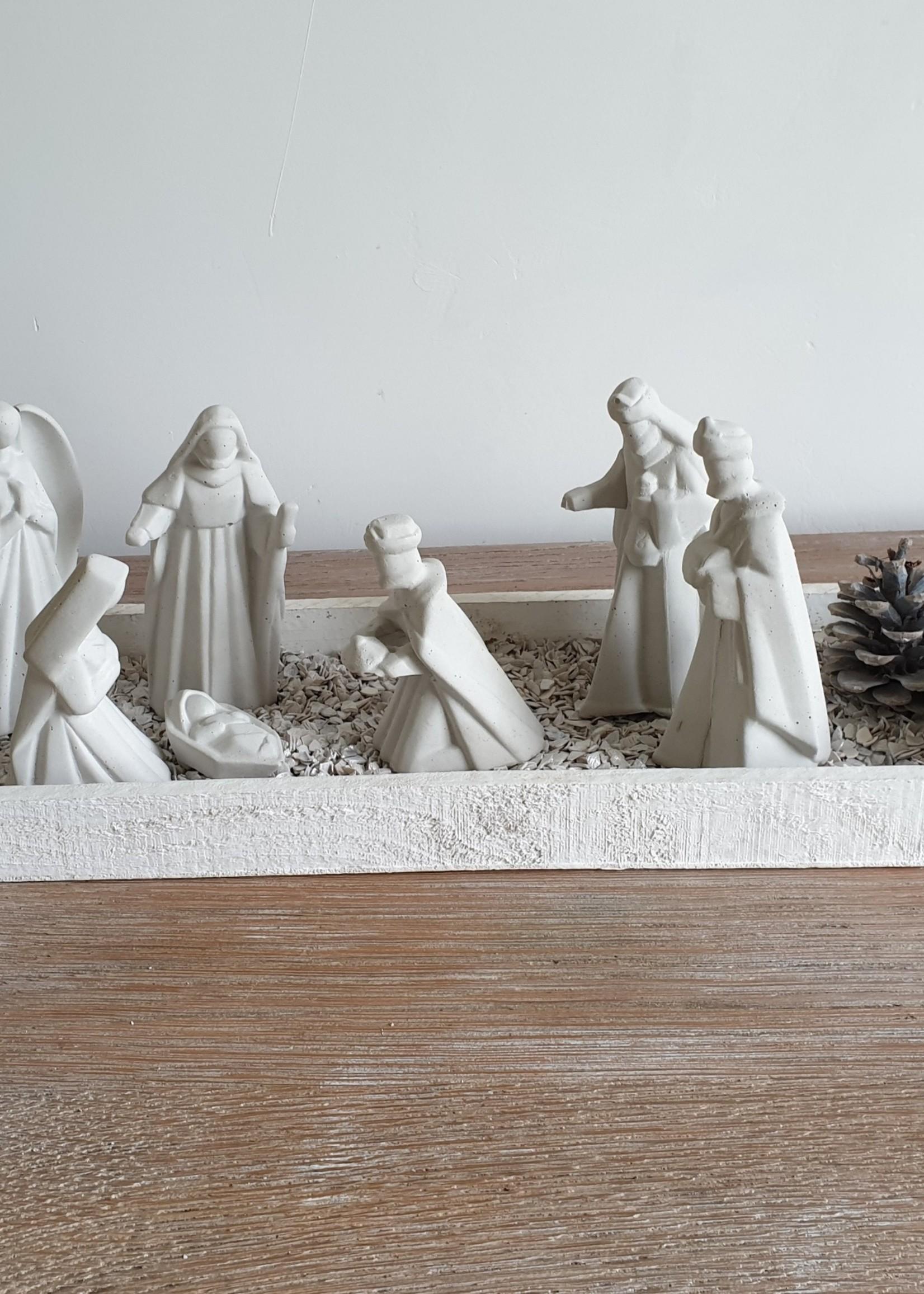 Betonnen kerstbeelden per set van 7 of apart