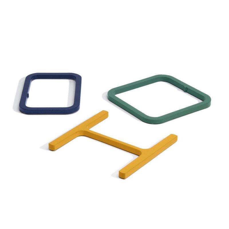 Atelier Belge Half a pound sliced steel onderzetters set blauw