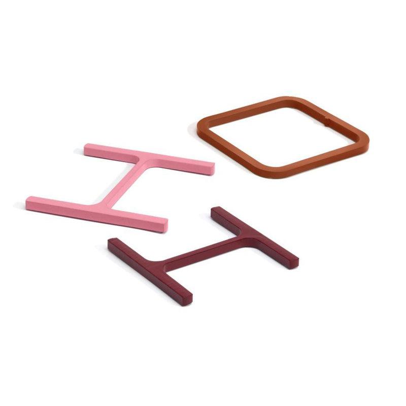 Atelier Belge Half a pound sliced steel onderzetters set roze