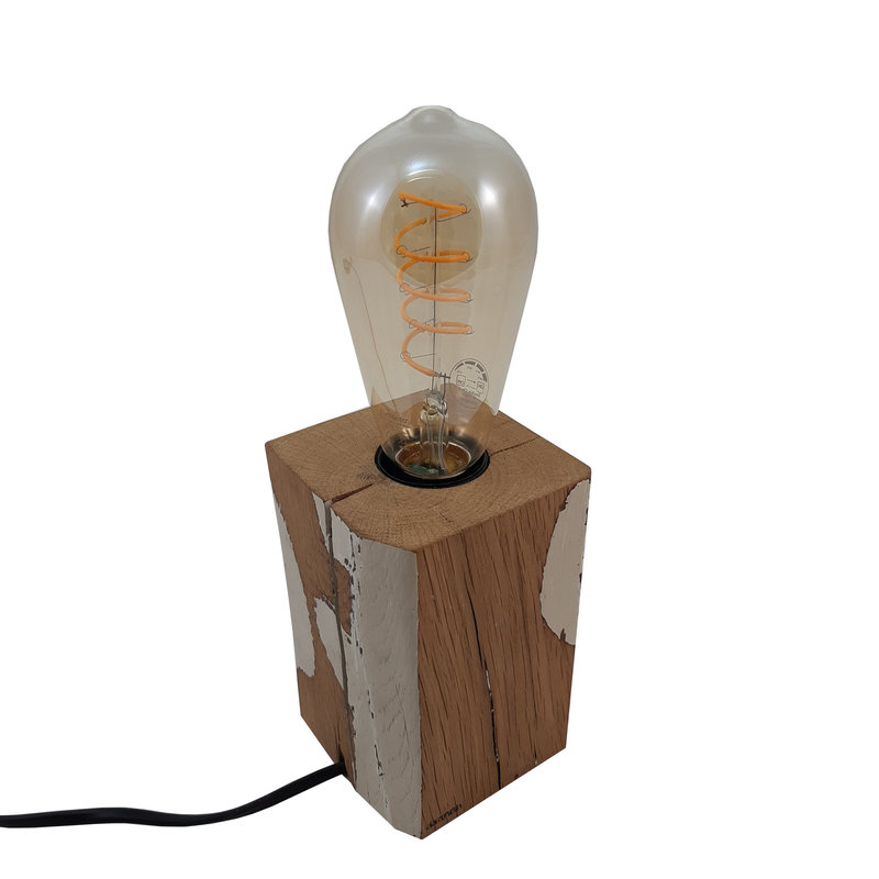Daanish Houten bloklamp d2 eik en witte verf dimbare led