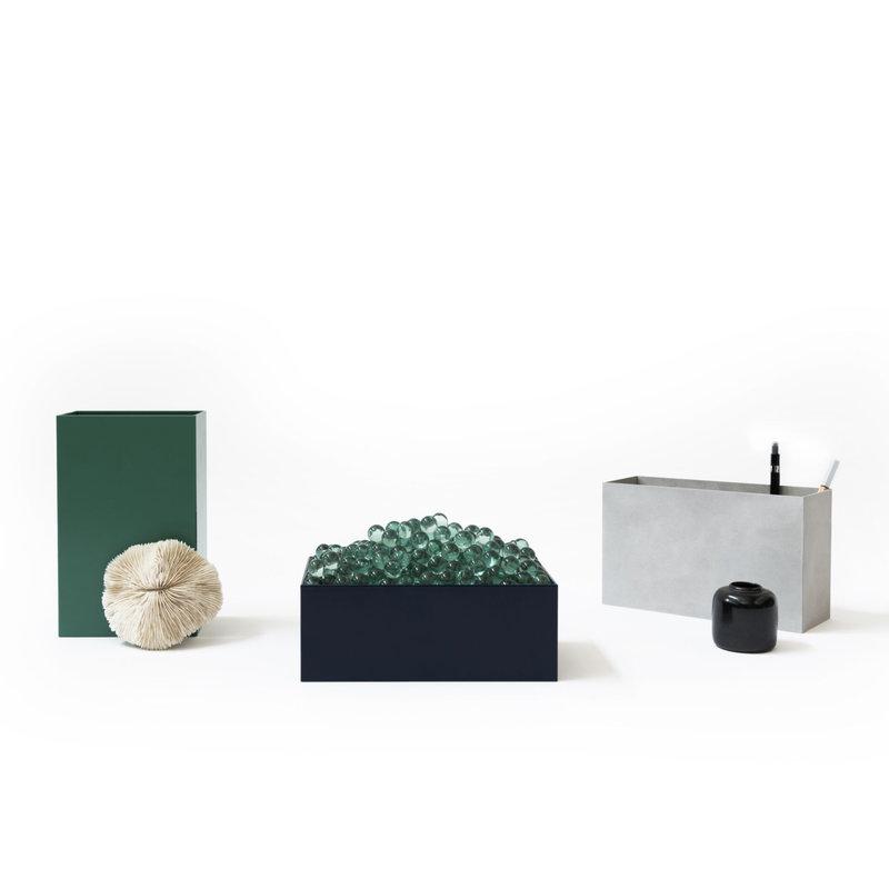 Atelier Belge Opbergbakjes metaal set van 3 staalblauw, sneeuwgrijs en patina groen