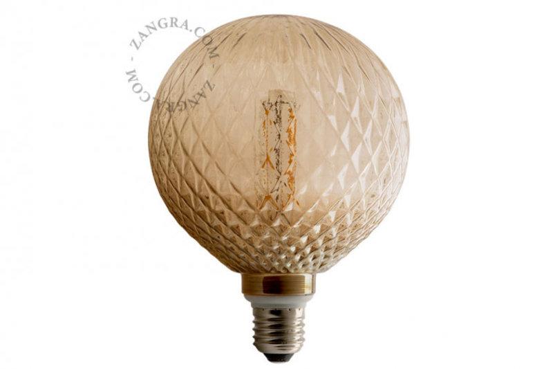 Zangra Lightbulb.lf.014.22.125 kooldraad LED lamp – 'crystal' rookglas