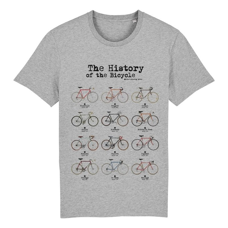 The Vandal Bio T-shirt history of the bicycle melange grijs