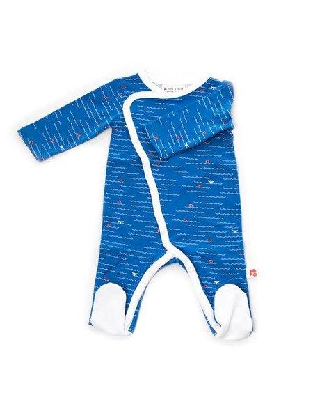 Froy&Dind Jumpsuit with feet ocean biokatoen