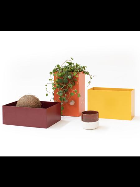 Atelier Belge Opbergbakjes metaal set van 3 purperrood, oranjerood en signaalgeel